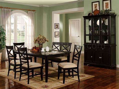 Dining Room Set With Hutch Black Finish Contemporary Dining Room Furniture