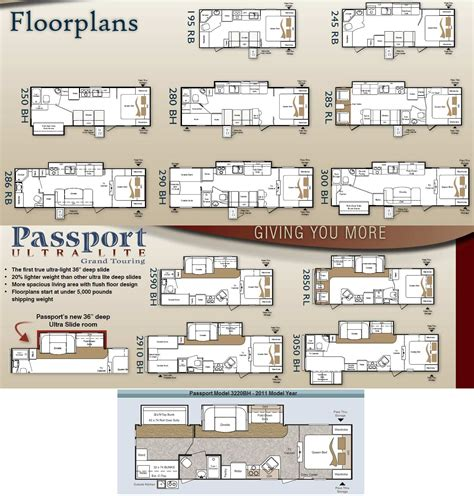 passport travel trailer floor plans keystone passport ultra lite travel trailer 2011 large
