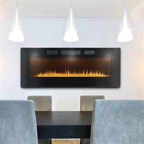 hanging wall fireplace napoleon 50 in slimline wall mount electric fireplace efl50h