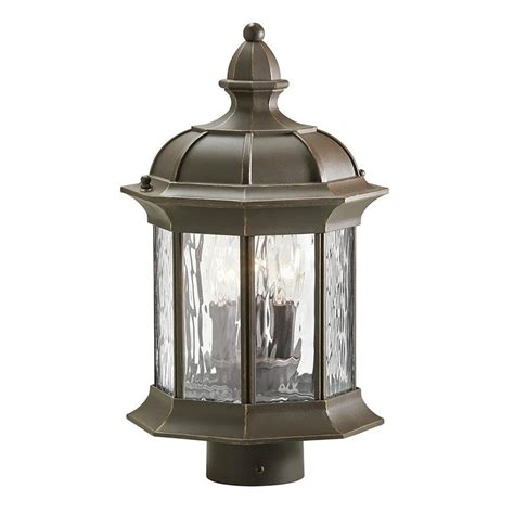 L Post Lighting Fixtures Shop Kichler Brunswick 15 35 In H Olde Bronze Post Light At Lowes