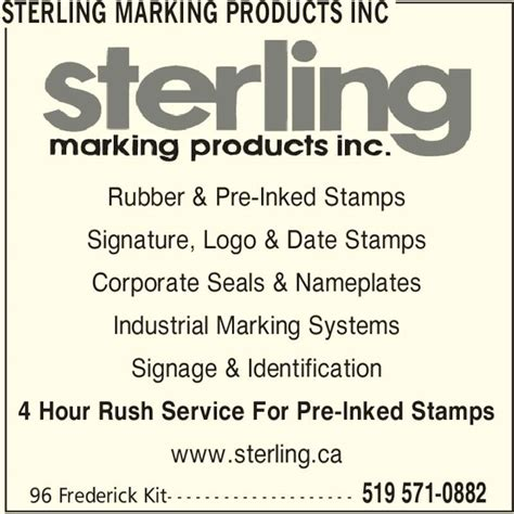 rubber st signature sterling marking products inc opening hours 96