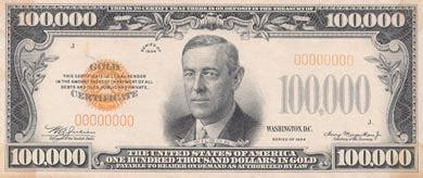 Woodrow Wilson $100000 Bill