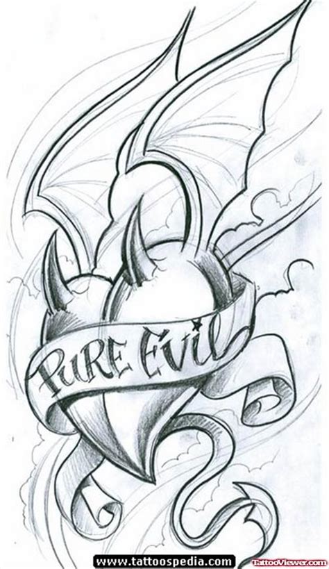 pure evil banner and winged devil heart tattoo design