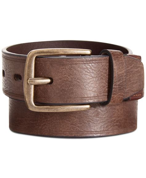 levi s cut edge with logo leather wrap belt in brown for
