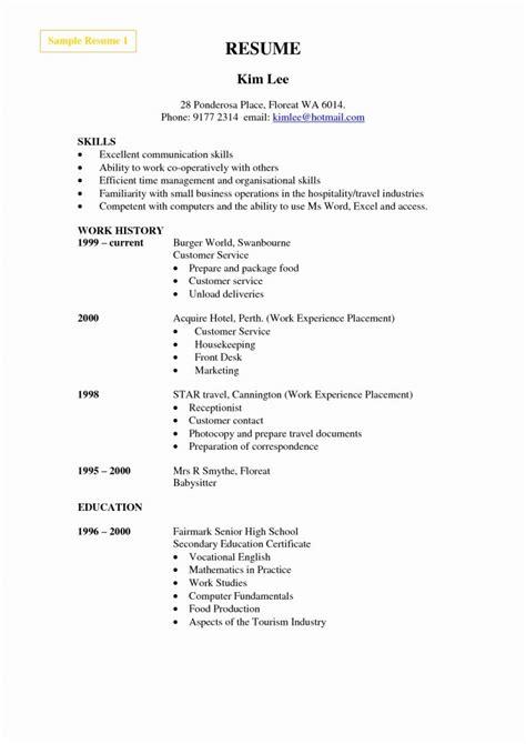 hotel industry resume format resume template sle