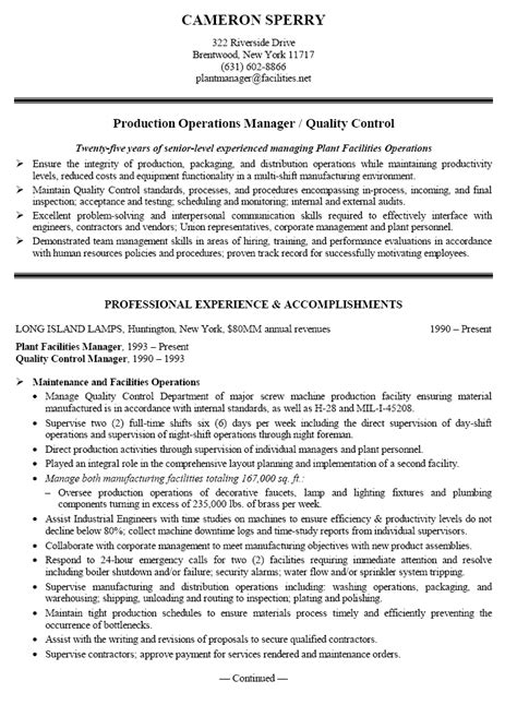 Production Manager Sle Resume by Production Manager Resume Sle Free Resumes Tips