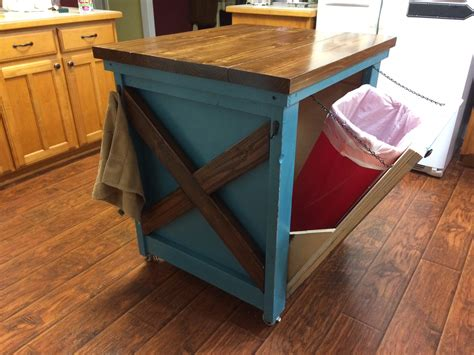 ana white kitchen island with trash bin diy projects