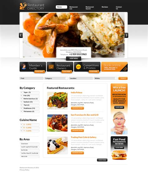 layout of a restaurant review restaurant reviews flash cms template 44115
