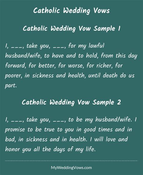 Catholic Wedding Vows catholic wedding vows husband catholic wedding and