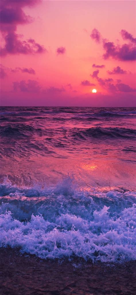 sunset waves red  iphone  wallpapers