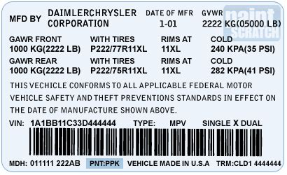 chrysler touch up paint color code and directions for