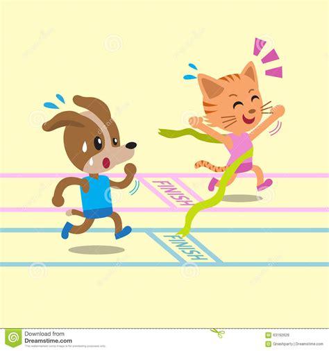cartoon race cartoon cat winning a race before dog stock vector