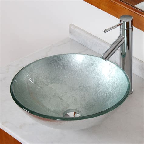 elite 1308 2659c modern tempered glass bathroom vessel sink with silver wrinkles bathroom sinks