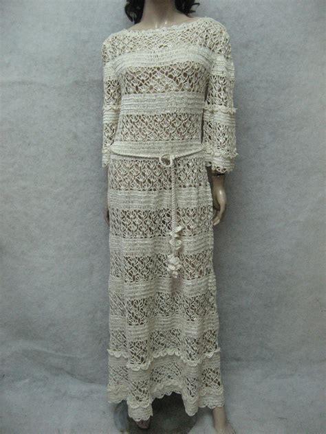 Handmade Maxi Dresses - crochet maxi dress handmade maxi dress crochet ivory lacy