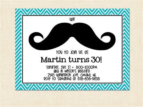 Mustache Birthday Card Template by Mustache Birthday Invitation Moustache Teal Blue