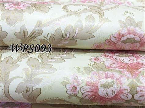 jual wps cream  big pink flower wallpaper dinding