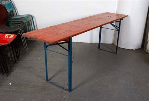 folding orange picnic table with blue metal legs at 1stdibs