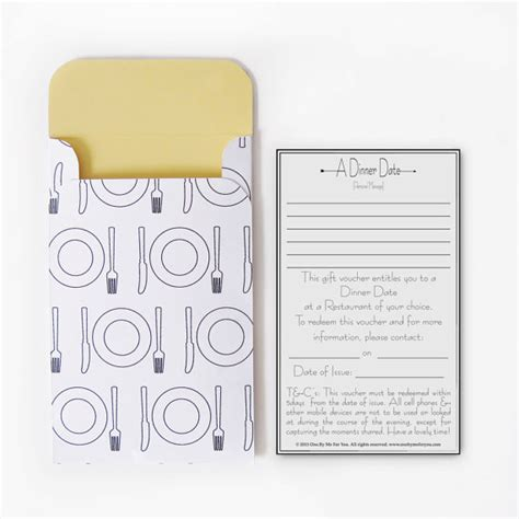 Dinner Gift Card Ideas - quality time gift vouchers gift card tags and layouts