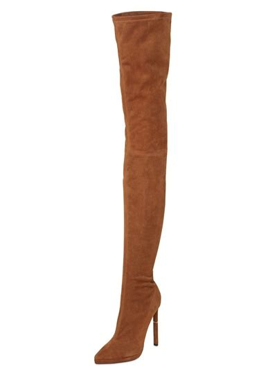 emilio pucci 130mm thigh high stretch suede boots in brown