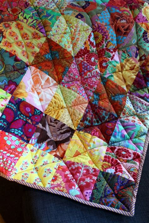 Patchwork Pattern Fabric - patchwork baby quilt made from kaffe fassett fabrics