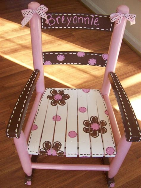 Childs Wooden Chair Personalised - boy colors of course pink and brown child