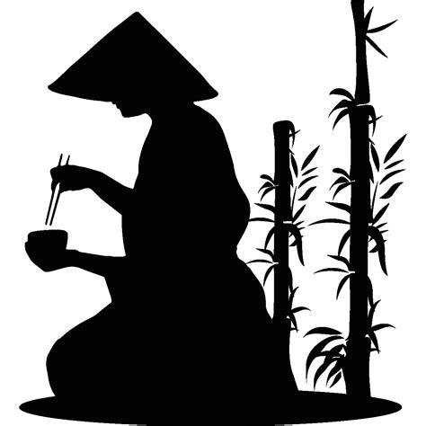 Stickerstiker Kaca Bambu 3 stickers muraux de silhouettes et personnages sticker moine et le bambou ambiance sticker