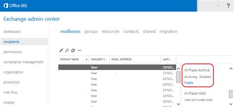 Enable Office 365 Exchange Archiving In Place