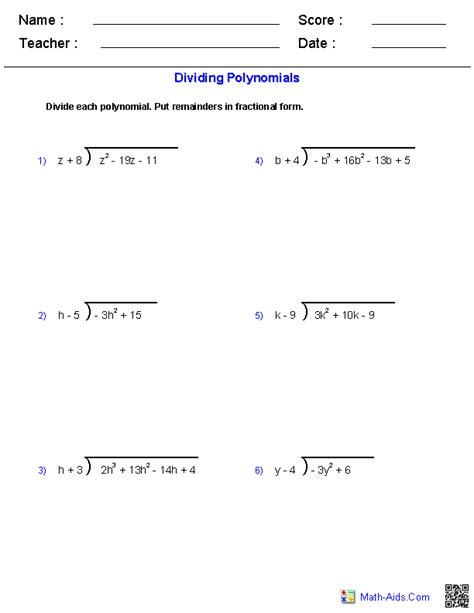Polynomial Division Worksheet by Algebra 1 Worksheets Monomials And Polynomials Worksheets