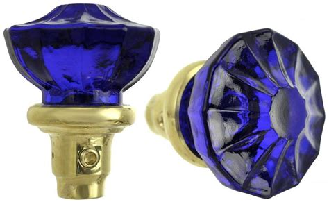Blue Glass Door Knobs by Vintage Hardware Lighting Antique Style Blue Pressed