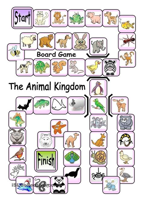 printable language board games board game the animal kingdom english language esl