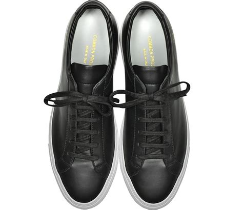 S W A T Black Leather Black White common projects original achilles low black leather s