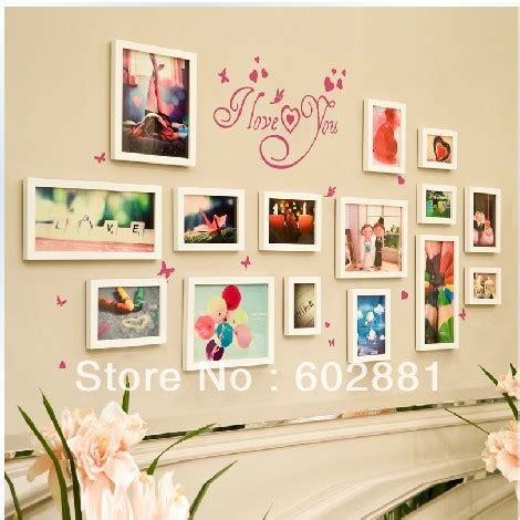 12 pcs reality wood picture photo frame wall set art work 15pcs photo frame wall sticker for wall art real wood home