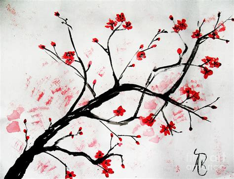 Bunga Artificial Broken White cherry blossom painting by andrea realpe