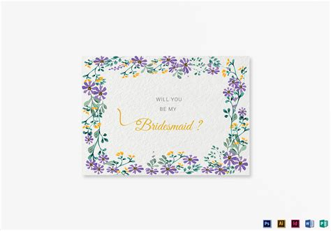 Garden Wedding Will You Be My Bridesmaid Card Template In Psd Word Publisher Illustrator Will You Be My Best Template