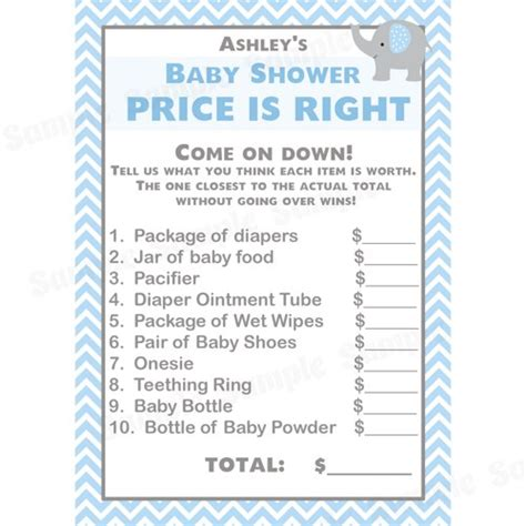 how to play price is right baby shower 24 baby shower price is right cards elephant blue