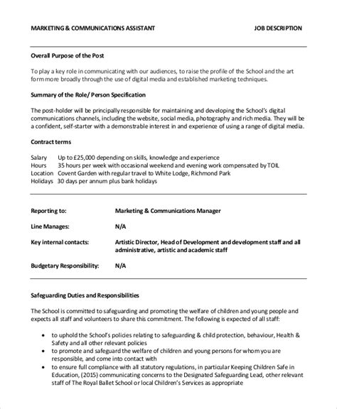 10 Marketing Assistant Job Description Sles Sle Templates Marketing Assistant Description Template