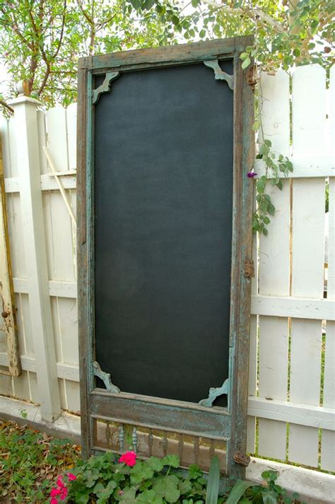 chalkboard paint exterior use vintage screen door add exterior grade plywood panel