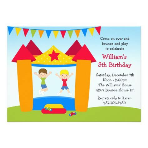 Bounce House Birthday Party Invitation Free Bounce Invitation Template