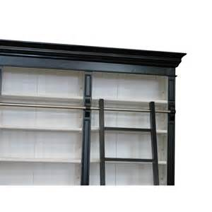 Black And White Bookcase Provincial Three Bay Bookcase With Ladder In Black
