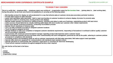 Experience Letter With Responsibilities Merchandiser Work Experience Certificate