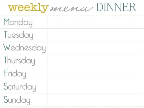 dinner meal planner template menu planner templates free printable budget sheet weekly