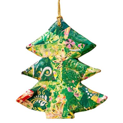 hanging christmas tree collage green 10cm