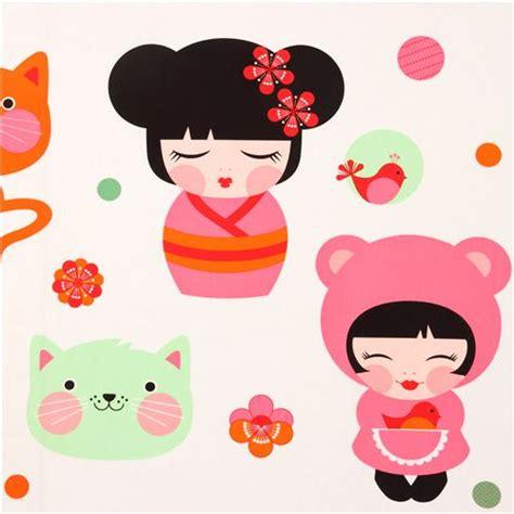 imagenes de japonesas kawaii big kokeshi doll kawaii girls fabric by robert kaufman usa