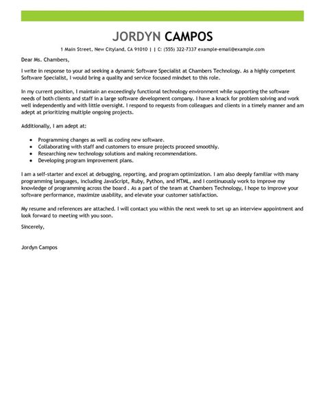Language Specialist Cover Letter by Best Software Specialist Cover Letter Exles Livecareer