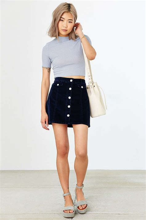Button Front Mini Skirt mini skirt with button front style for