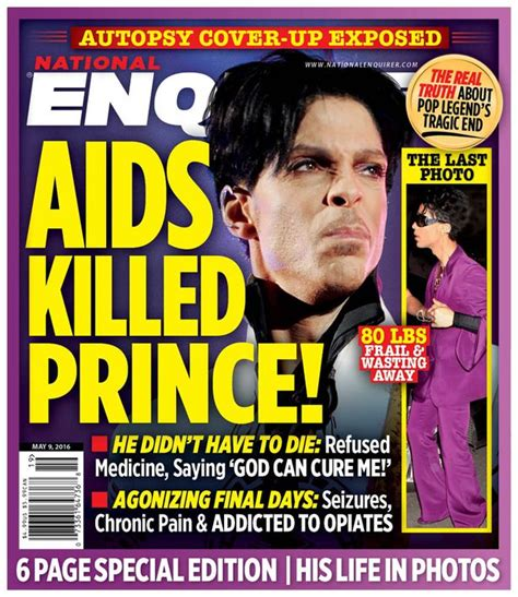 This Weeks National Enquirer Attempts by Prince Diagnosed With Aids Weeks Before His And Was