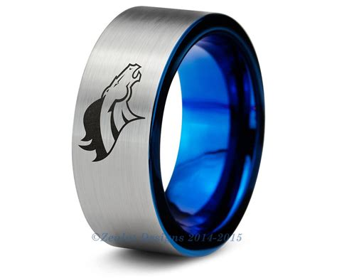 Wedding Bands Denver denver broncos blue tungsten wedding band ring brushed