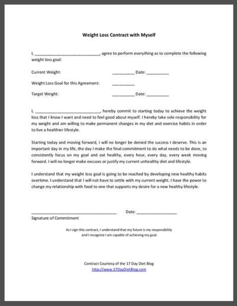 Weight Loss Contract With Myself 17 Day Diet Accountability Contract Template