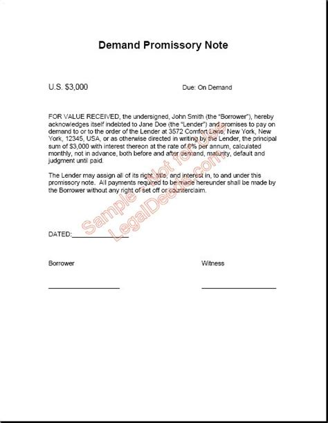 printable sle simple promissory note form real estate