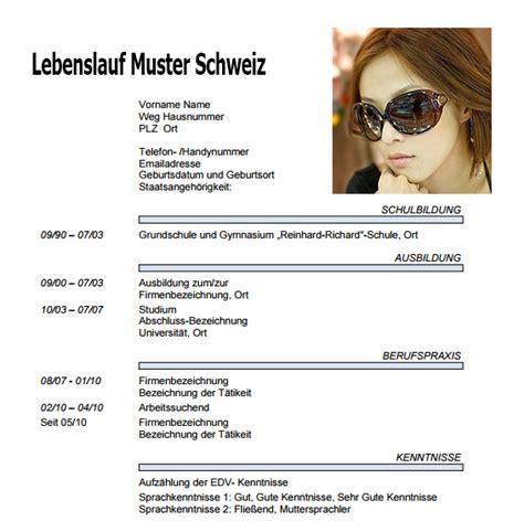 Lebenslauf Muster Schweiz Lebenslauf Dokument Lebenslauf Beispiel